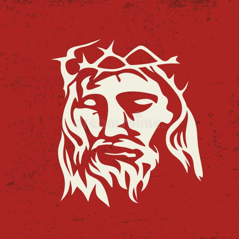 Cara de Jesus Christ, mão tirada ilustração stock