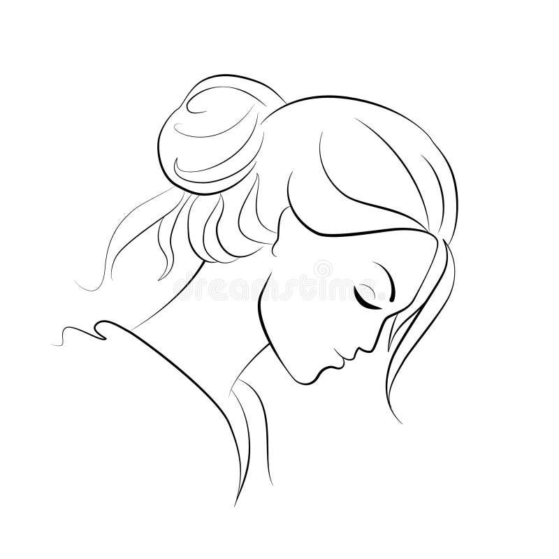 Cara de joven pensativa, contorno negro sobre fondo blanco stock de ilustración