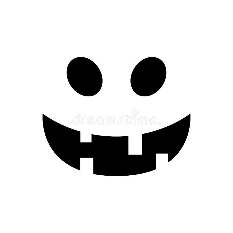 Cara de la calabaza de Halloween Cara sonriente de la calabaza aislada en el fondo blanco Jack-o-linterna Cara asustadiza del fan ilustración del vector