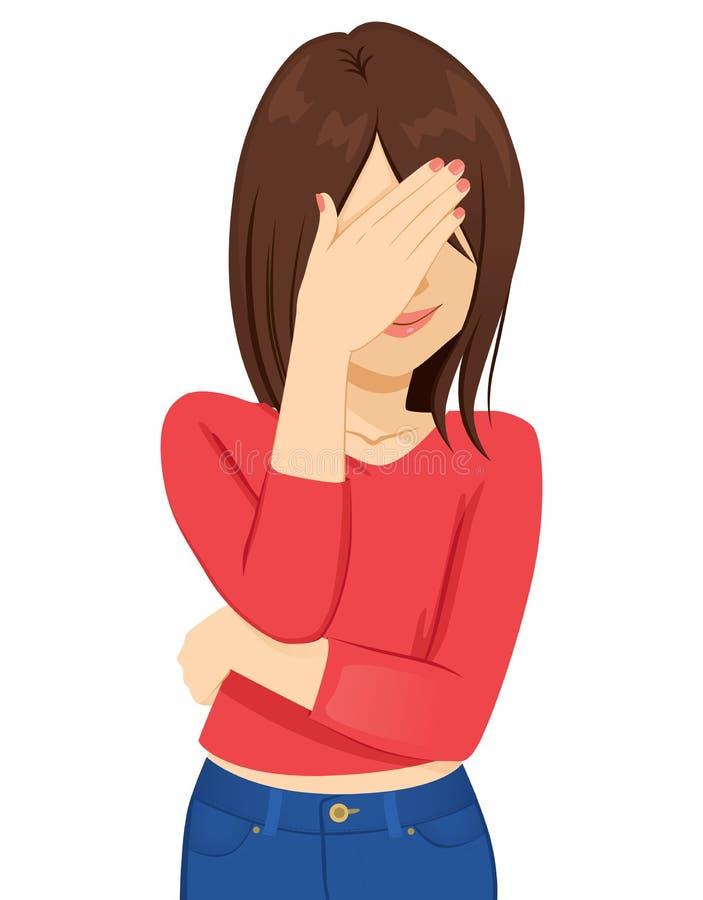 Cara de la cubierta de la mujer joven avergonzada stock de ilustración