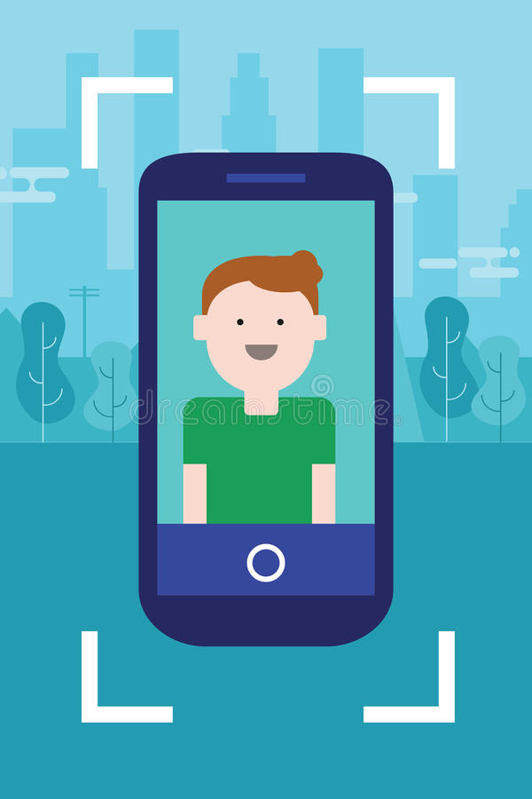 Cara de la foto del hombre en la diversión móvil de los jóvenes del carácter de la sonrisa del selfie del dispositivo del Smart-t ilustración del vector