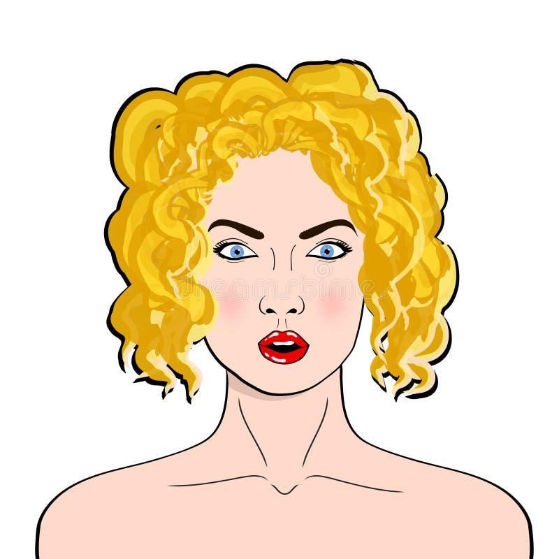 Cara de la hembra del arte pop del wow Mujer joven sorprendida atractiva con el MES abierto stock de ilustración