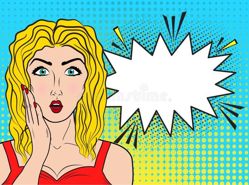 Cara de la hembra del wow Boca abierta del womanwith rubio joven atractivo y de largo ilustración del vector