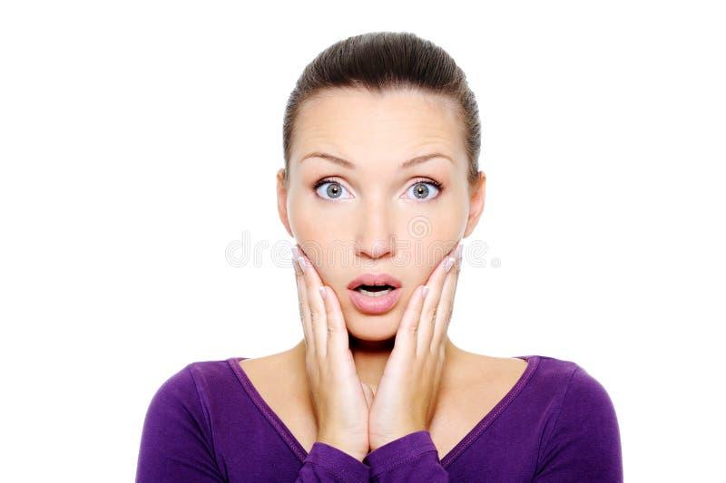 Cara de la hembra el preguntarse y de la sorpresa imagen de archivo libre de regalías