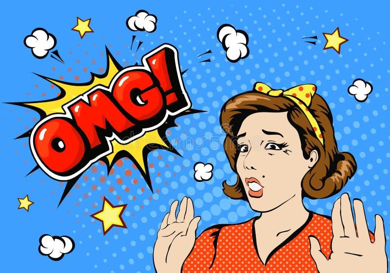 Cara de la hembra de OMG El estilo cómico sorprendió a la mujer joven con la boca abierta y el levantamiento su cartel retro del  stock de ilustración