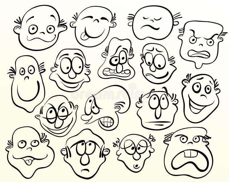 Cara de la historieta. stock de ilustración