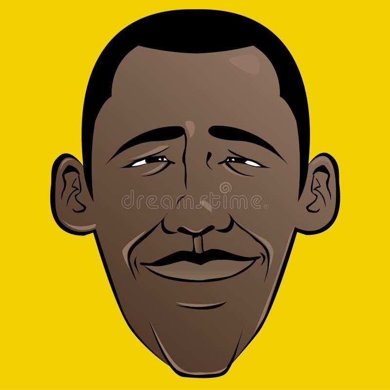 Cara de la historieta de Barack Obama ilustración del vector
