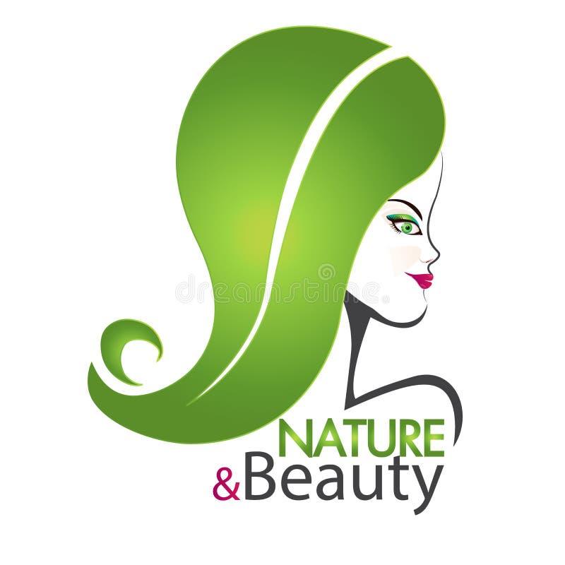 Cara de la muchacha con swirly el logotipo del pelo de la hoja stock de ilustración