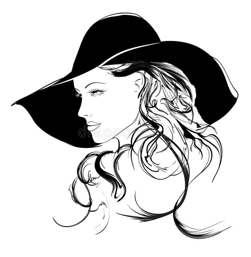 Cara de la muchacha de la belleza stock de ilustración