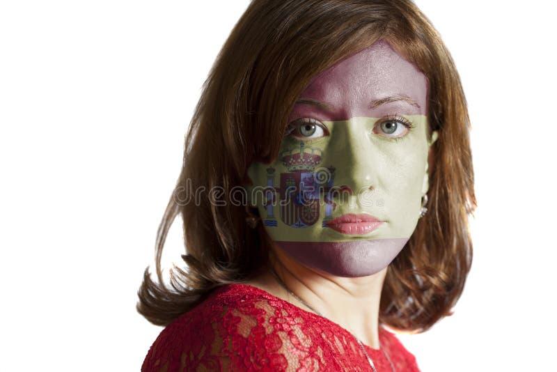 Cara de la mujer con la bandera pintada de España fotografía de archivo