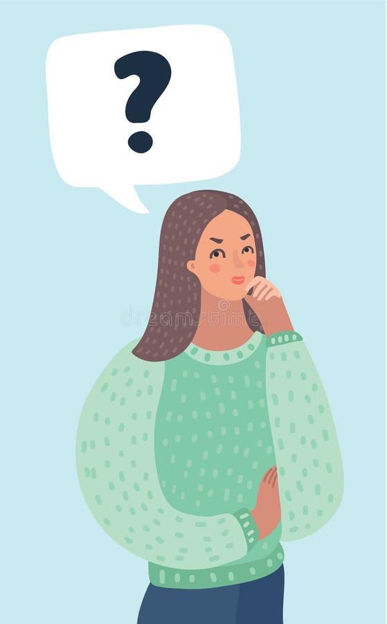 Cara de la mujer con los signos de interrogación libre illustration