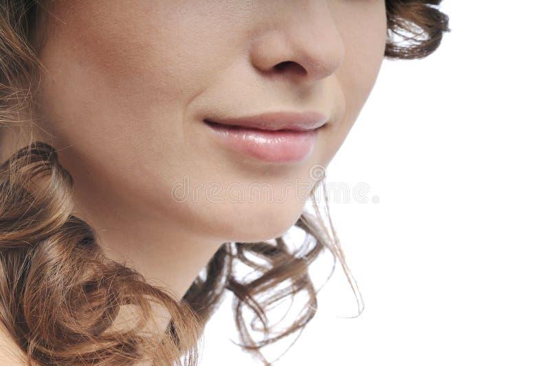 Cara de la mujer - detalle de la boca y de la nariz foto de archivo libre de regalías