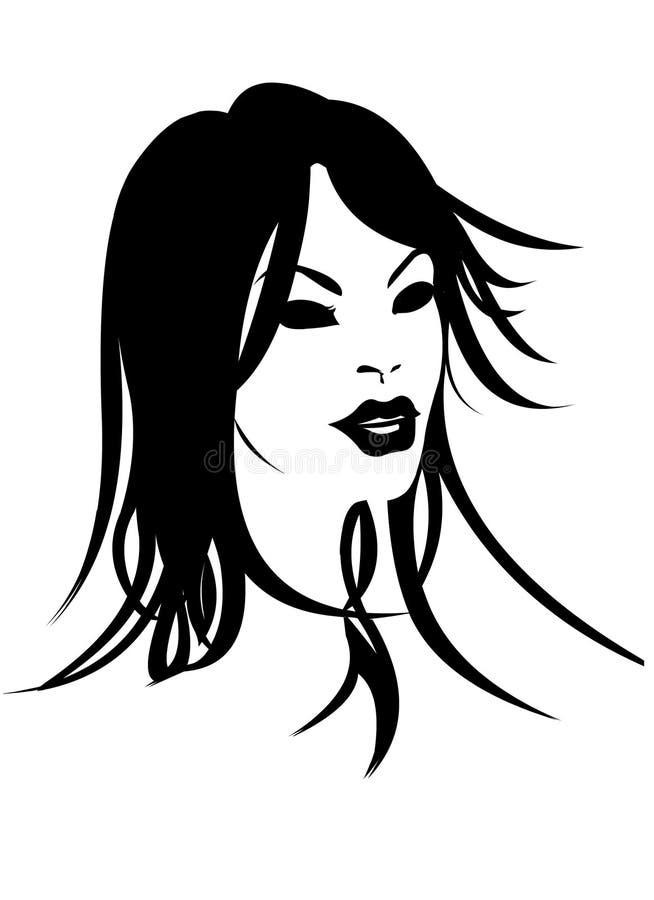 Cara de la mujer en negro y blanco libre illustration