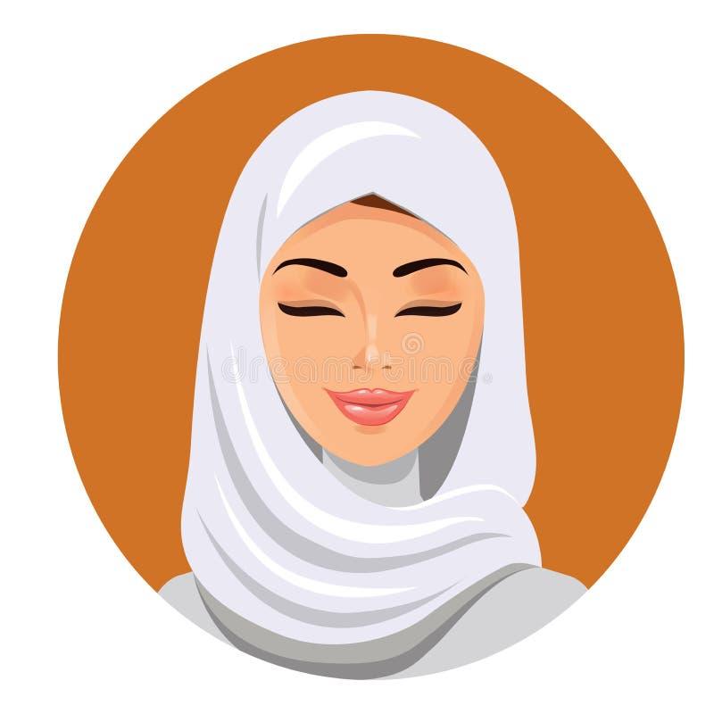 Cara de la mujer musulmán árabe, ejemplo del vector Retrato de la mujer hermosa árabe en el hijab blanco ilustración del vector