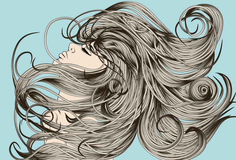 Cara de la mujer que mueve de un tirón el pelo detallado libre illustration