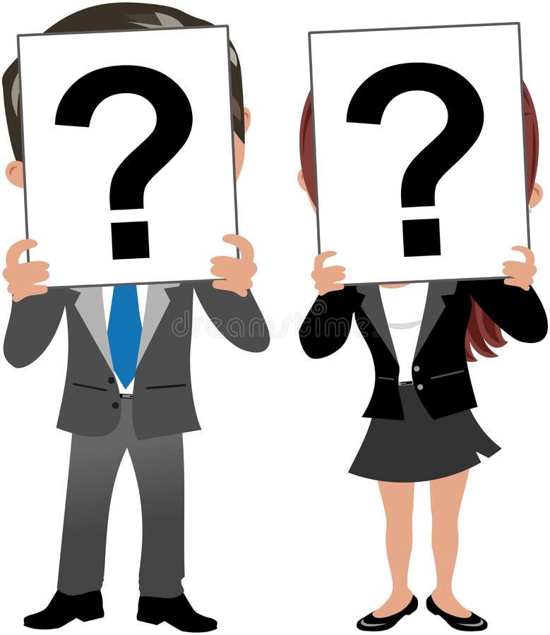 Cara de la mujer y del hombre de negocios detrás del signo de interrogación ilustración del vector