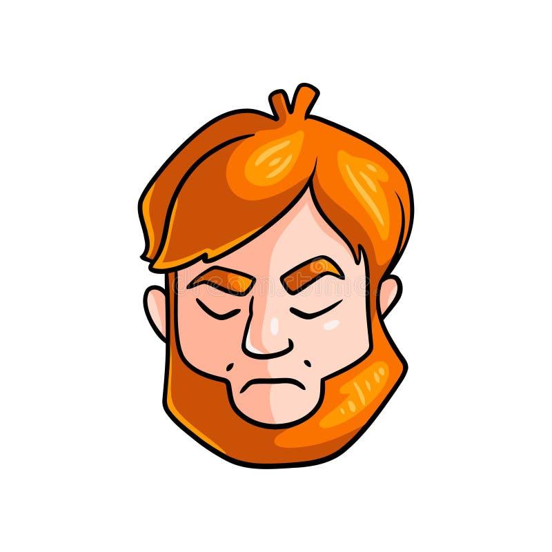 Cara de la cara nerviosa del hombre del pelirrojo con los ojos cerrados ilustración del vector