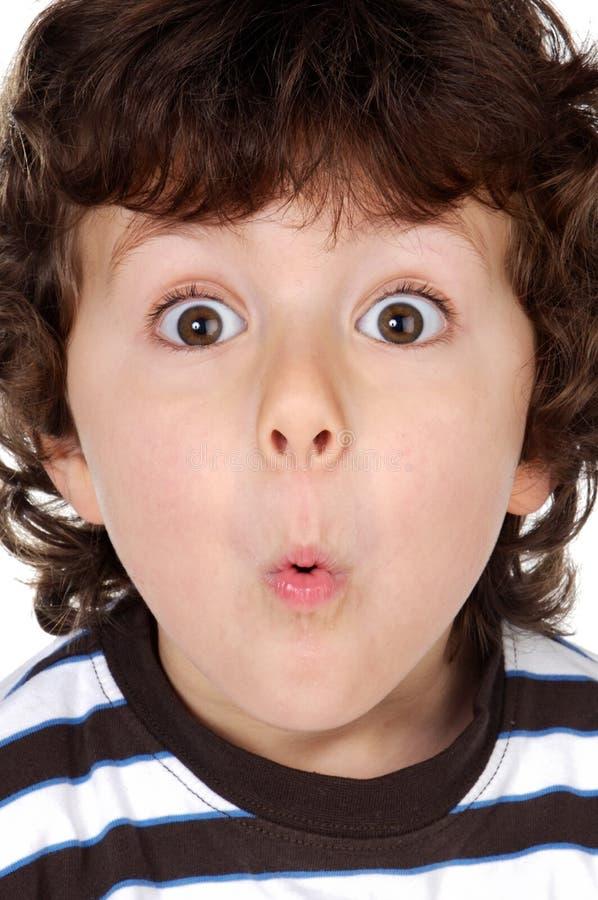 Cara de la pizca del niño de la sorpresa foto de archivo libre de regalías