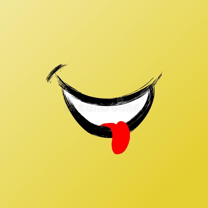 Cara de la sonrisa, gráfico divertido del cepillo, icono de la sonrisa del vector Ejemplo gráfico inspirado y de motivación libre illustration