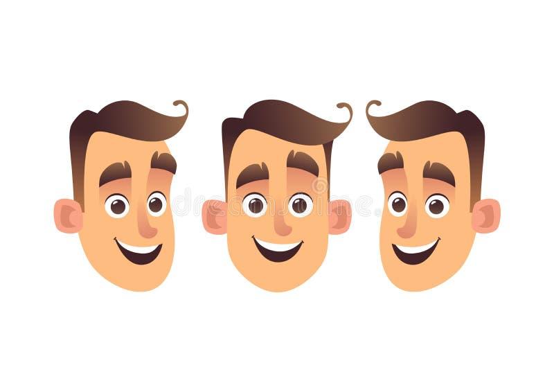 Cara de las clases jovenes del hombre tres de la historieta aislada stock de ilustración