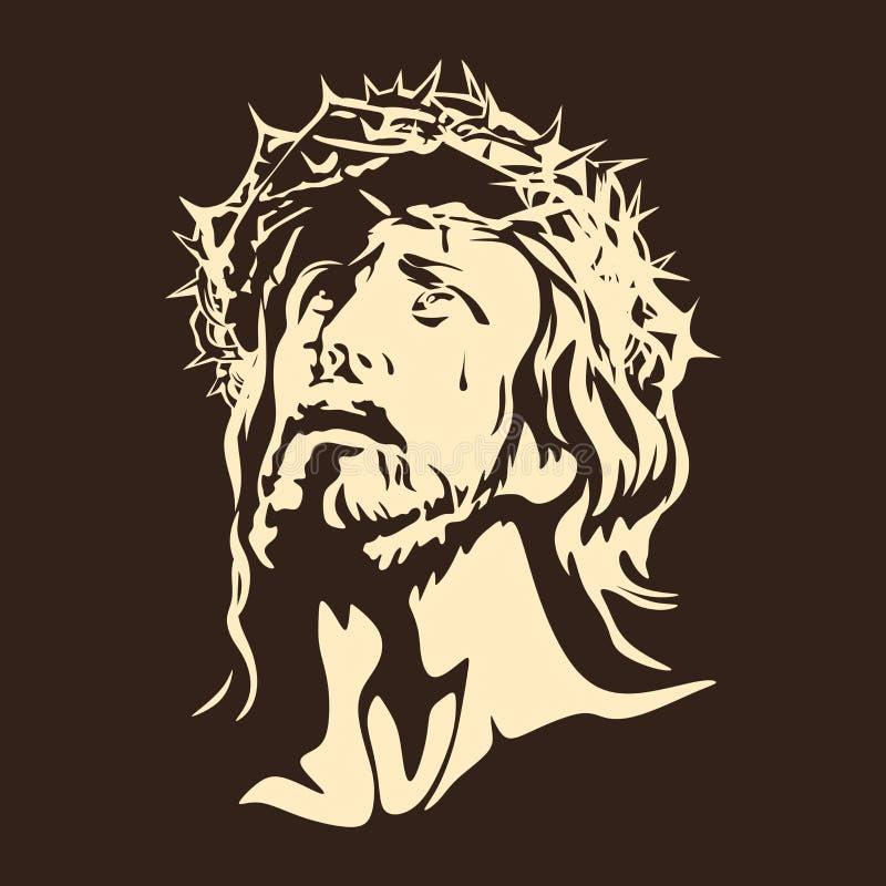 Cara de Lord Jesus Christ ilustração do vetor