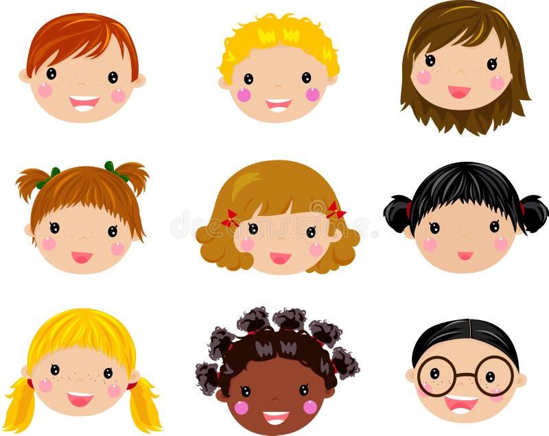 Cara de los niños de la historieta stock de ilustración