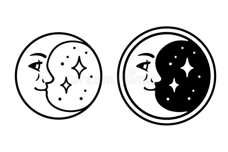 Cara de lua crescente ilustração royalty free