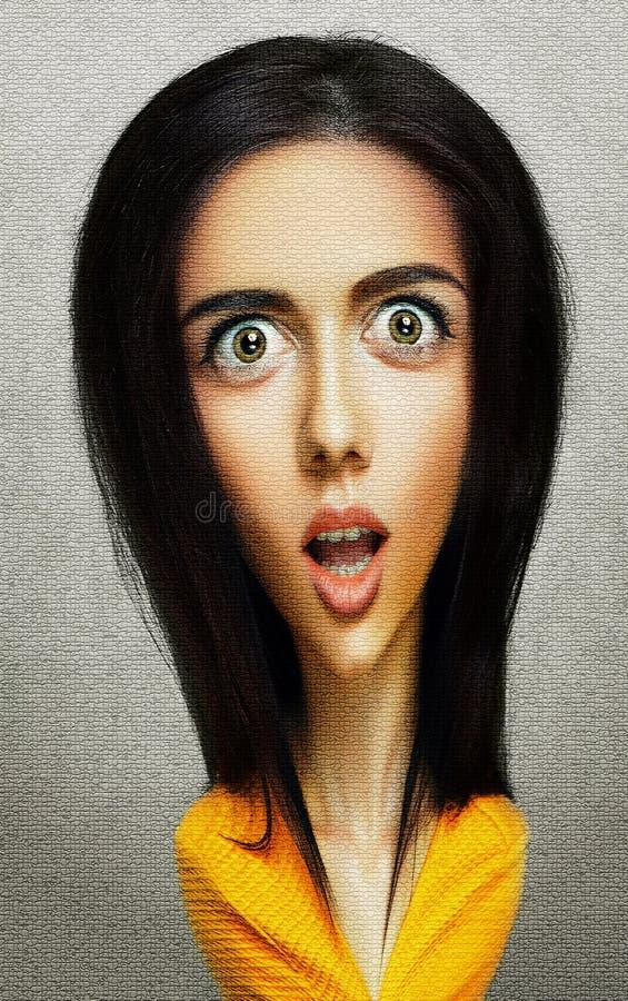Cara de mujer graciosa y sorprendida con la cabeza y los ojos grandes fotos de archivo
