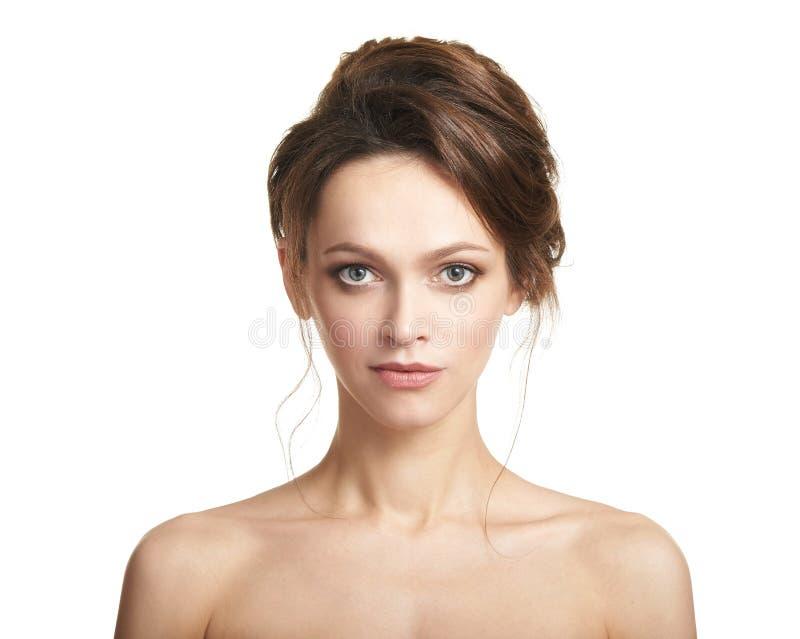 Cara de mulher bonita Modelo bonito com pele saudável imagens de stock