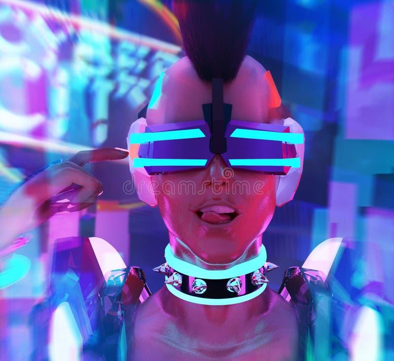 Cara de neón de la muchacha cibernética ilustración del vector