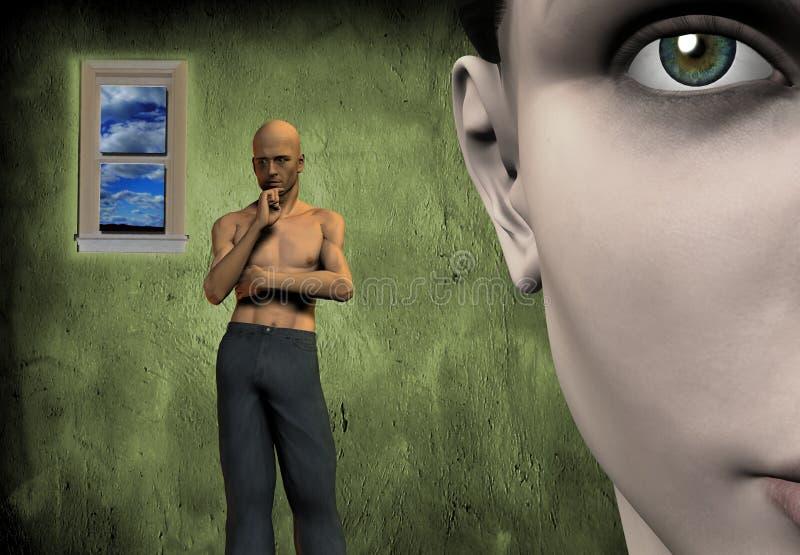 Cara de pensamento do homem e da mulher ilustração stock