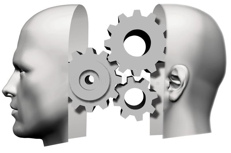 Cara de pensamiento principal de los engranajes del hombre stock de ilustración