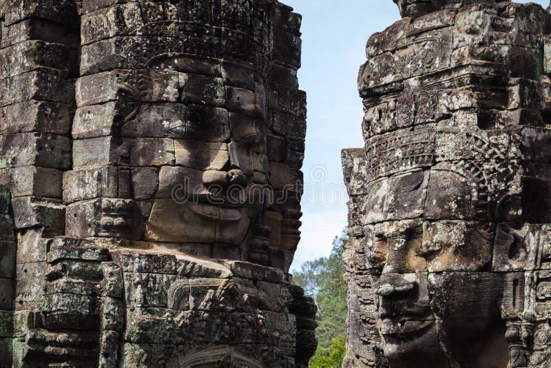 Cara de piedra del templo de Bayon imagen de archivo