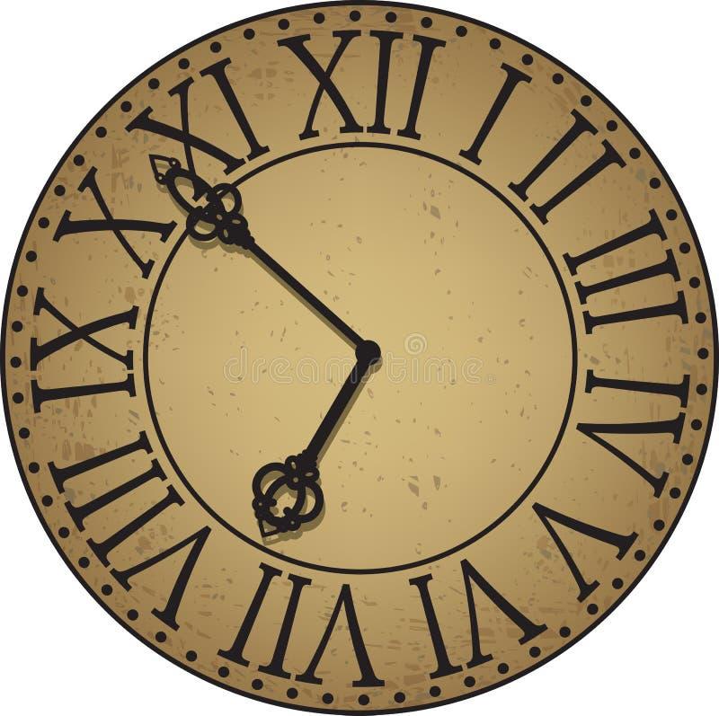 Cara de reloj antigua ilustración del vector