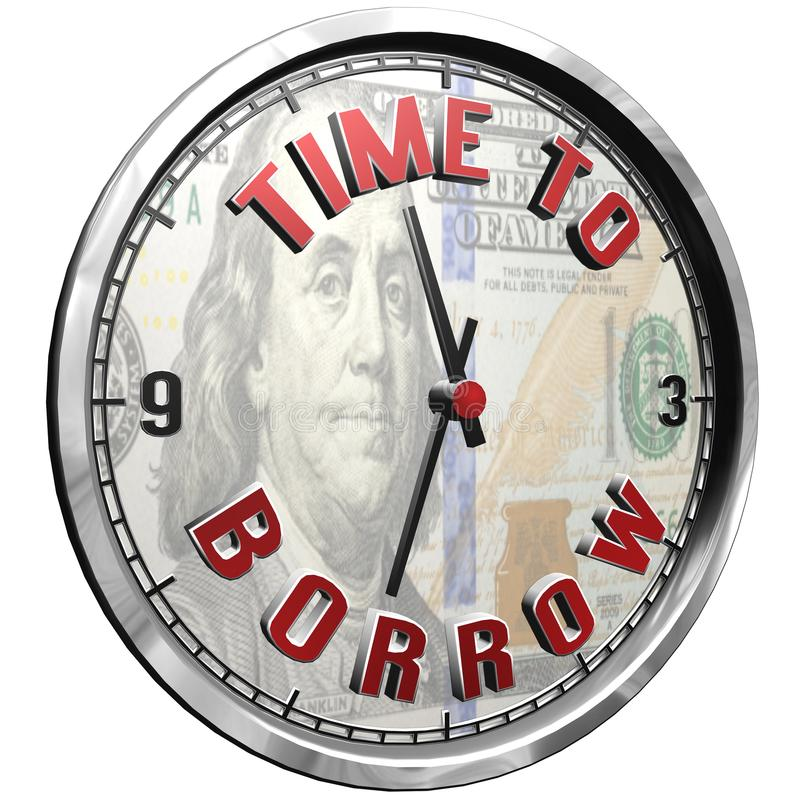 cara de reloj del ejemplo 3D con tiempo del texto para pedir prestado stock de ilustración