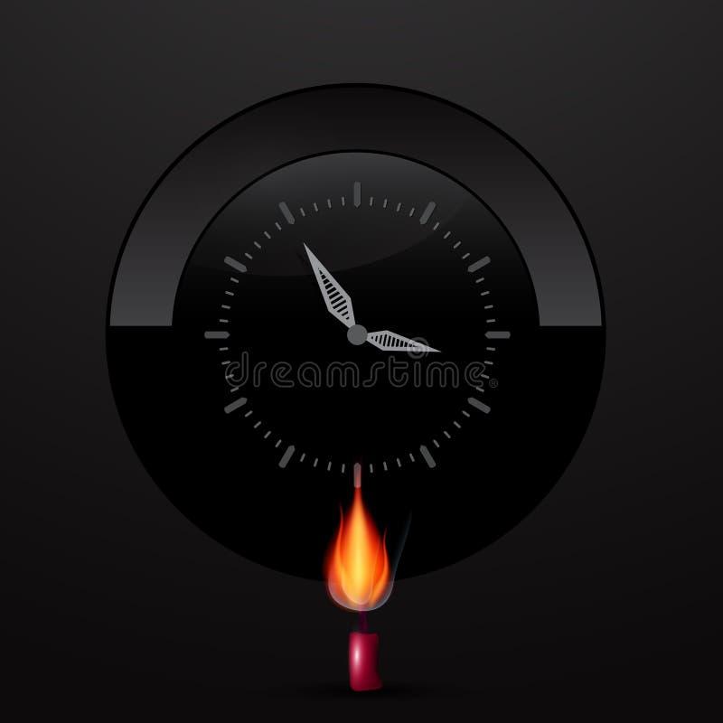 Cara de reloj en fondo negro con la vela del Lit ilustración del vector