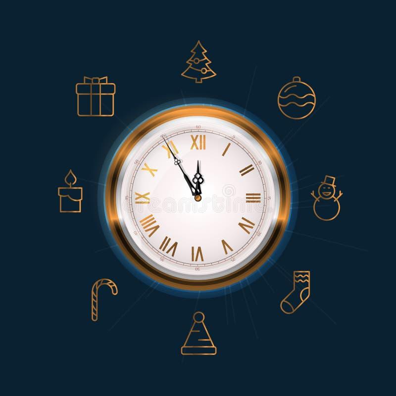 Cara de reloj vieja de pared que muestra cinco a doce El Año Nuevo está viniendo pronto concepto ilustración del vector