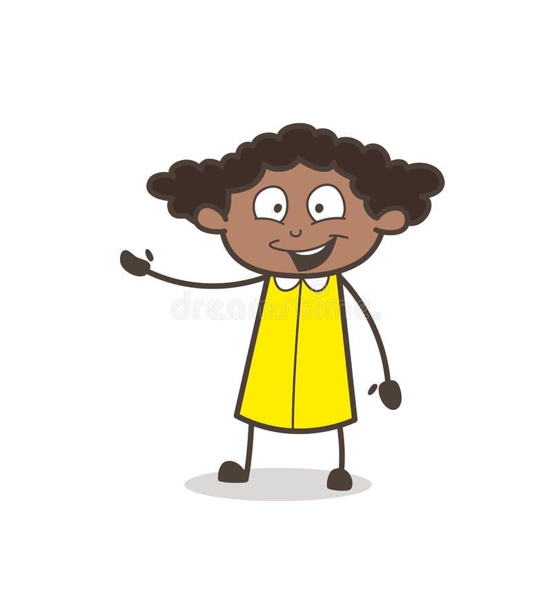 Cara de riso da menina alegre com vetor do gesto de mão ilustração do vetor