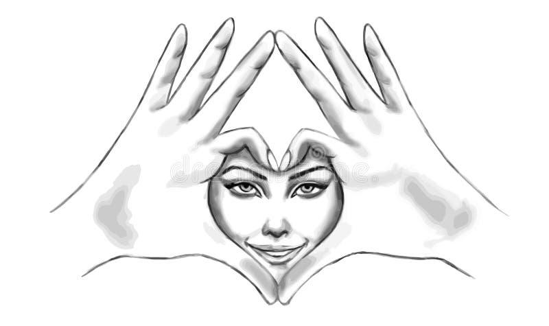 Cara de sorriso da mulher no sinal do coração feito com ilustração do desenho de esboço áspero das mãos ilustração royalty free