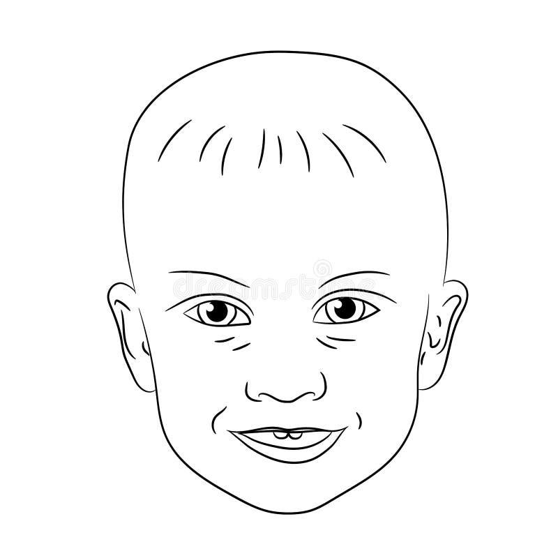 Cara de sorriso de ilustrações do vetor do menino da criança ilustração royalty free