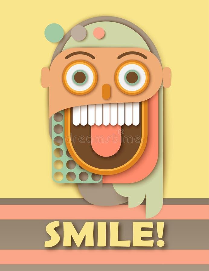 Cara de sorriso louca humana de papel abstrata Shap geométrico colorido ilustração do vetor