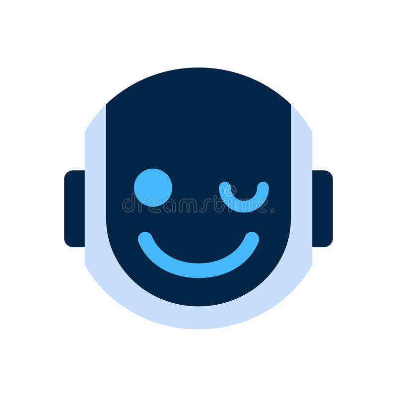 Cara de sorriso Wink Emotion Robotic Emoji do ícone da cara do robô ilustração stock