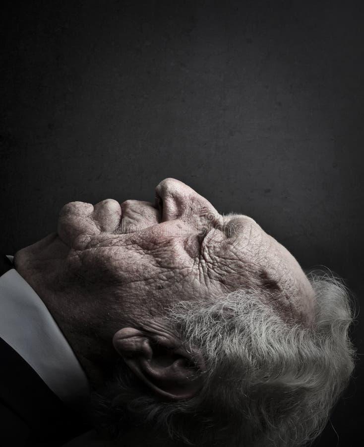 Cara de um ancião fotografia de stock royalty free