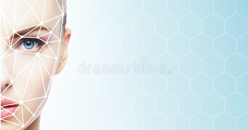 Cara de uma menina do beautifyl com uma grade de varredura em sua cara Identifica??o da cara, seguran?a, reconhecimento facial, a fotos de stock royalty free