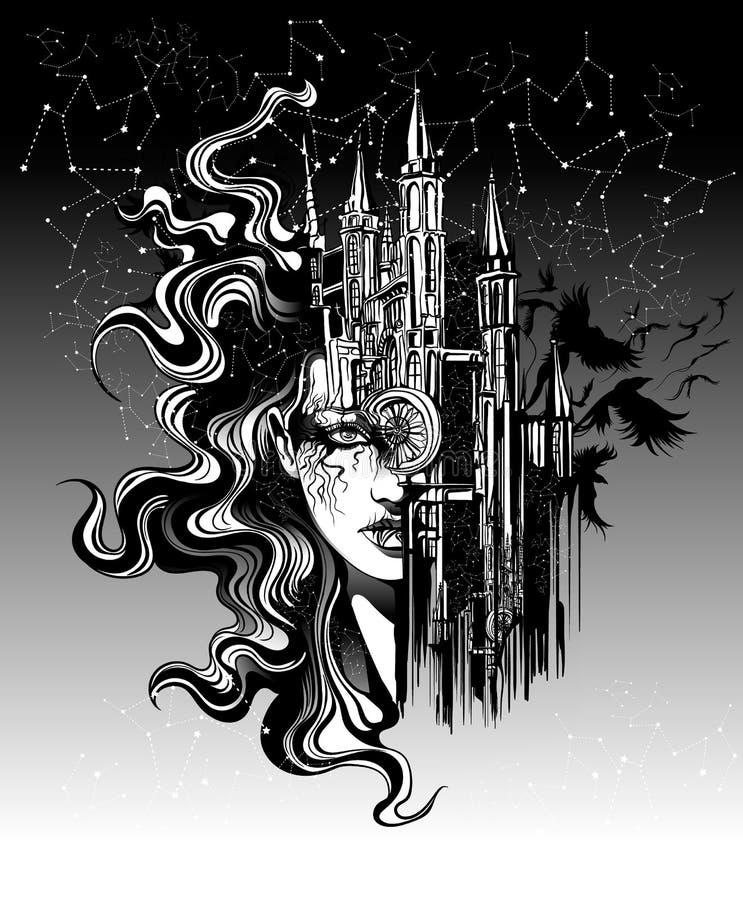 A cara de uma mulher bonita funde com a arquitetura do ol ilustração stock