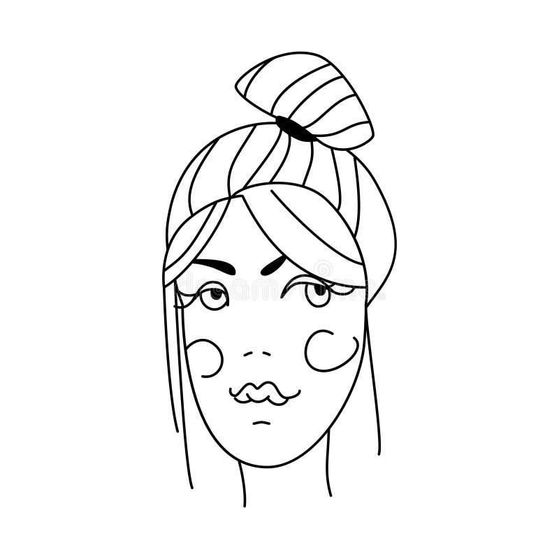 Cara de uma mulher bonita nova com penteado Retrato da mulher ilustração royalty free