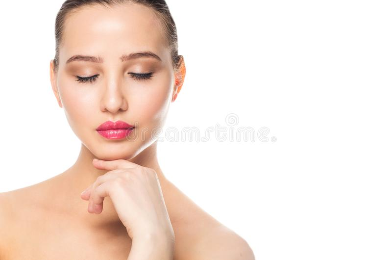 Cara de uma mulher bonita, retrato do close up Termas, composição, cuidado, conceito limpo da pele foto de stock