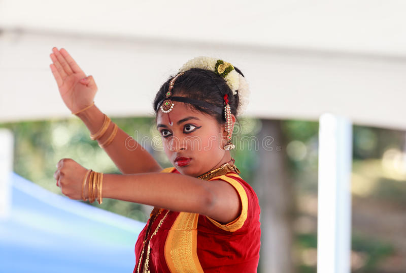 Cara de un bailarín indio clásico imagen de archivo libre de regalías