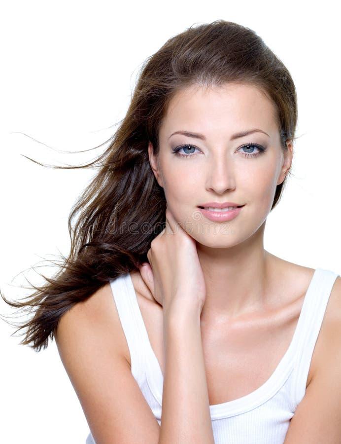 Cara de una mujer joven hermosa atractiva imagenes de archivo