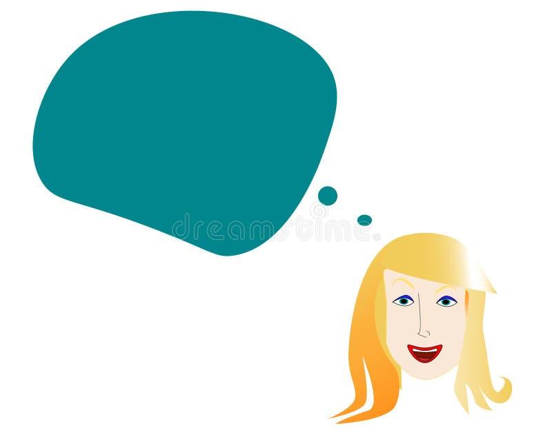 Cara de una mujer sonriente con la burbuja de la mente ilustración del vector